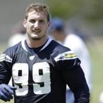 FILE - In this May 13, 2016, file photo, San Diego Chargers rookie defensive end Joey Bosa trains during an NFL football rookie training camp in San Diego. The Chargers have withdrawn their contract offer to first-round draft pick Joey Bosa and will restructure a new deal that takes into account his absence from the team. The Chargers' statement Wednesday, Aug. 24, 2016, said they believe